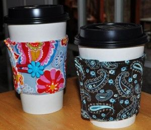 This is a FREE Coffee Cup Cozy Sewing Pattern! Super Easy and Fun! Make one for yourself and all your coffee shop friends!
