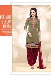 Beige Color Chanderi Fabric Unstitched Patiala Suit With Beautiful Floral Embroidery Work On Neck