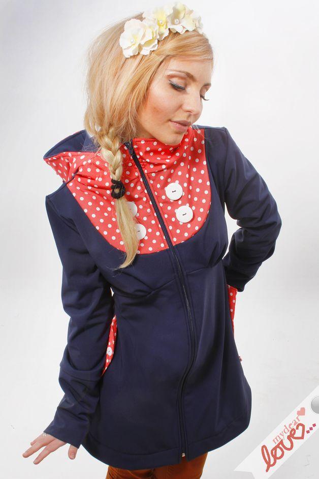 "Short Coats – Softshell jacket ""Emilia"" Marine points Apricot – a unique product by mydearlove on DaWanda"