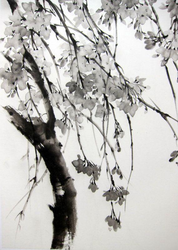 Encre, peinture art japonais art asiatique Suibokuga Sumi-e papier de riz, noir, Large  « Sakura Tree » peint avec Sumi - encre sur le papier kozo avec fibres de mûrier. taille (pouces): 17 x 28 pouces taille (cm): 45 x 70 cm  Montage : soutenu avec une deuxième couche de papier wenzhou. Sans cadre et revient  Signé en bas à gauche avec le nom japonais personnelle de lartiste avec timbre rouge (hanko) Seirei 星麗.  Jexpédie dans le monde entier. Des réductions de frais sappliquent lorsque vous…