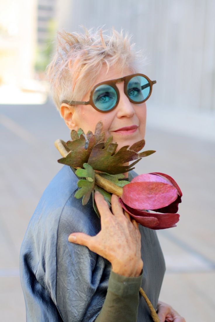 "From Advanced Style -- love the glasses Only thing is ""Little Shop of Horrors"" stem; but, she's cool."