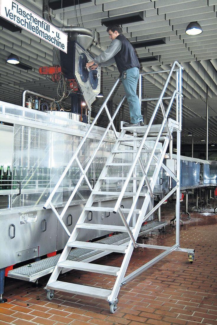 Wartungsbühne 45° 15 Stufen – 1000 mm breit Alu-Bühne mit Stufenbreite 1000 mm
