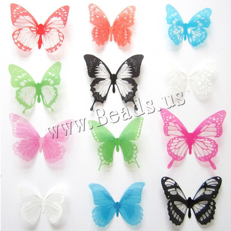 Fridge Magnets, PVC Plastic, with Magnetic Hematite, Butterfly, colorful powder