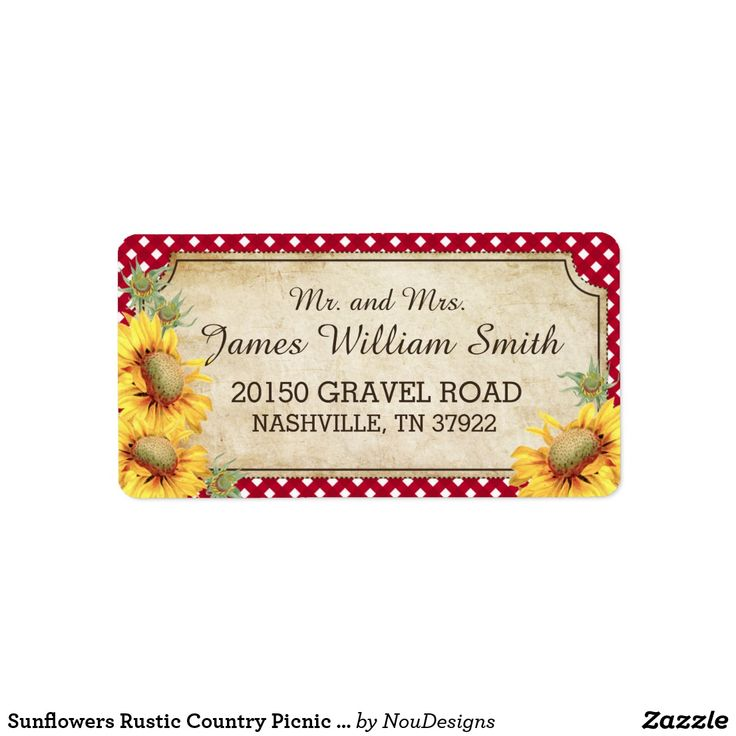 Sunflowers Rustic Country Picnic Wedding Label Sunflowers and red gingham check rustic country picnic wedding address labels.