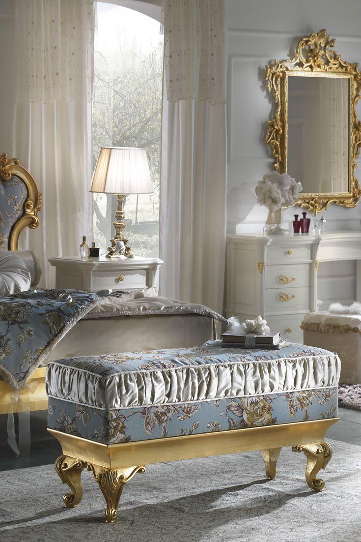 Gold Leaf Rococo Upholstered Bench 法式 Upholstered
