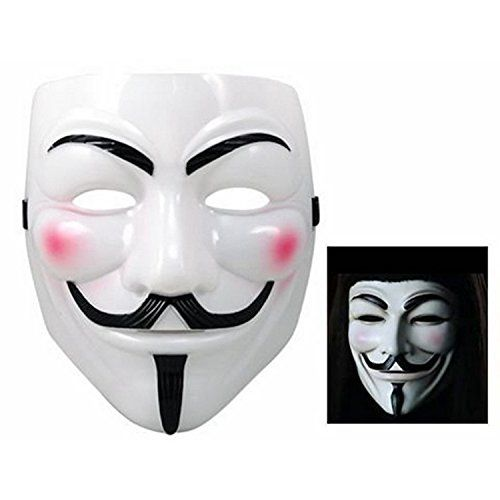 Ewin 1 pcs Cosplay Mask V For Vendetta Mask Anonymous Movie Guy Fawkes Halloween Masquerade Party Face March Protest White -- For more information, visit image link.