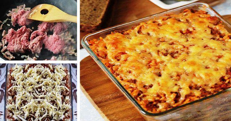 Egy kis rizs, egy kis hús és sajt, már csak meg kell sütni és kész is a fenséges vacsora!