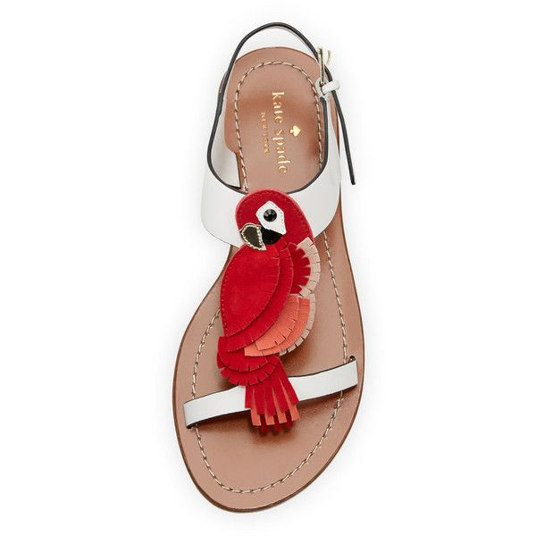 kate spade new york charlie parrot t-strap sandal featuring polyvore women's fashion shoes sandals open toe sandals white flat sandals ankle strap flat sandals ankle strap flats ankle wrap sandals