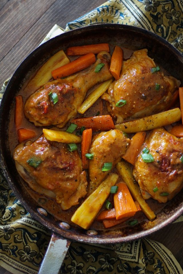 Coconut Harissa Curry Braised Chicken with Root Vegetables ...