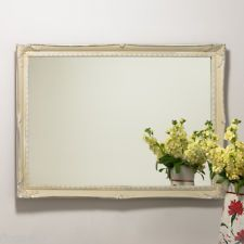 French country large ornate swept shabby chic vintage cream hand painted mirror