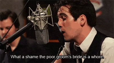 """Brendon Urie realizing he shouldn't have just said """"whore"""" during an on-air performance."""