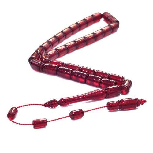Bakalit Kehribarı 8x12mm Kırmızı Kesme Modeli Tesbih