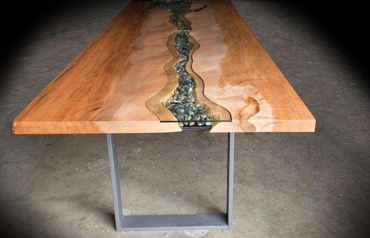 Image Result For Live Edge Table With Glass Center Pebbles | Live Edge  Table Ideas | Pinterest | Metal Trays, Trays And Kitchens