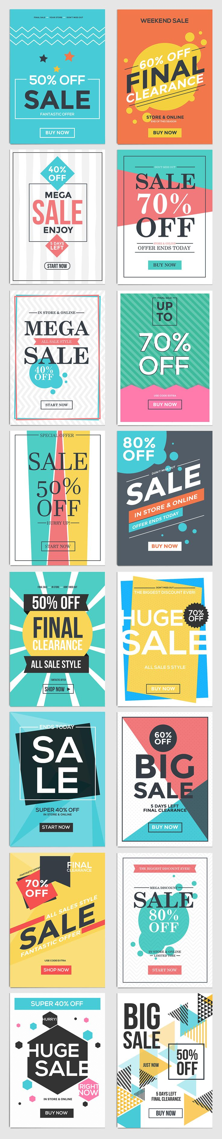 Poster design ideas for school - Flat Design Sale Flyer Templates