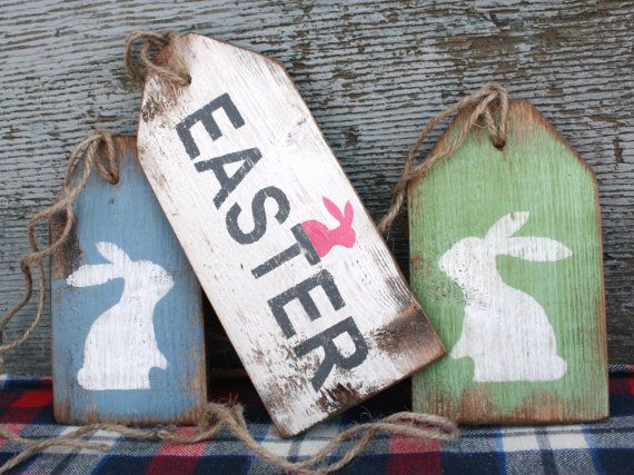 FREE SHIP Easter Bunny Rabbit Rustic Distressed Holiday Wreath Wood Tags by TheUnpolishedBarn on Etsy