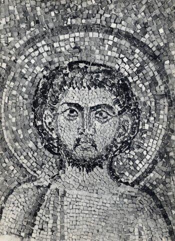 Basilica di Santo Stefano Rotondo, Roma. Mosaico. Santi Primo e Feliciano, Cristo e la croce gemmata. VII secolo (642 – 649)