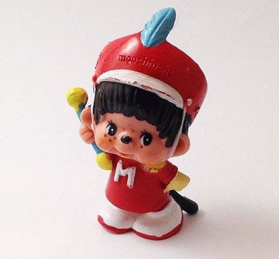 Vintage 1979 Monchhichi Majorette Monkey PVC Toy Collectible