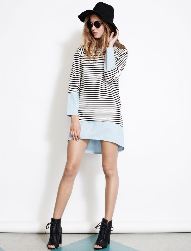 ISLA KEEP IT SIMPLE SQUARIE from The Source Collection. This is the type of easy-wear piece that you'd imagine seeing on the French Rivera. Effortlessly cool this Breton stripe tee-dress has a layered appearance. We've added chambray detail in the deep cuffs, around the yolk and through the deep, dipped back curved hem. Available www.talulah.com.au