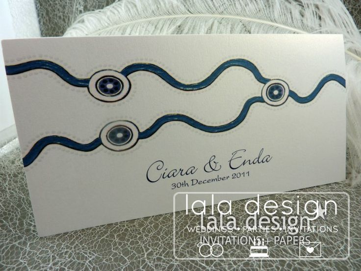 Blue and white graphic wedding invitation