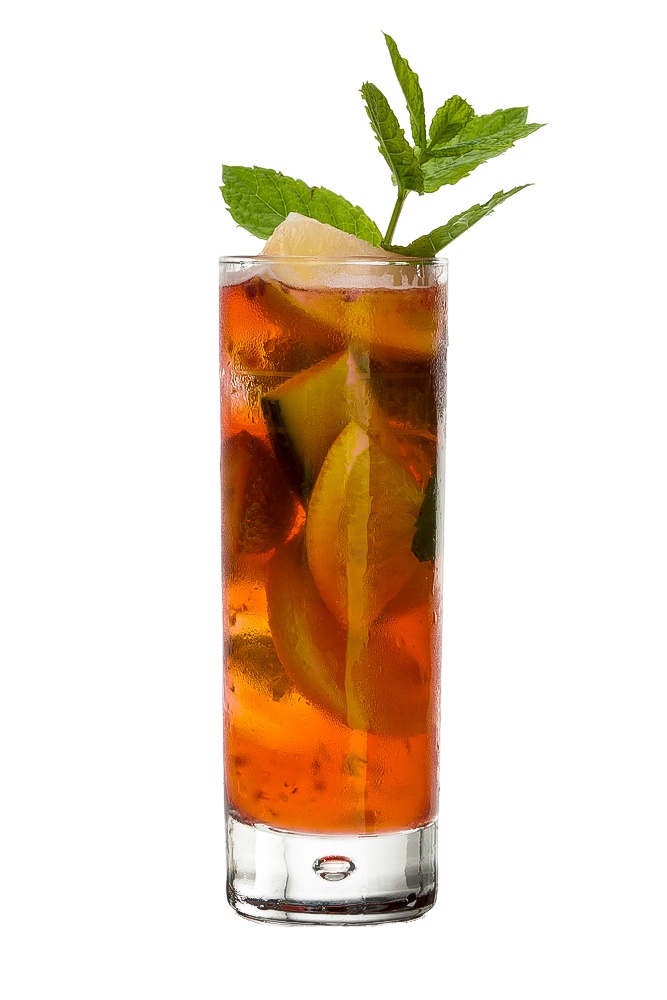 Pimms : INGREDIENTS - 2 measures Pimm's No. 1 Cup  1/2 measure Gin  1 slice Lemon  1 slice Orange  1 slice Cucumber  1 sliced Strawberry  Top up with 7-Up (or ginger ale)  Garnish    Mint sprig  INSTRUCTIONS - 1) In a glass half filled with ice, add Pimm's and Gin 2) Fill the glass with fruit and more ice 3)Top up with 7-Up (or ginger ale), gently stir. HOW TO SERVE IT - Serve in a Collins glass  Garnish with sprig of mint