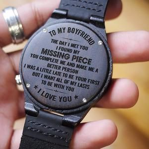 W1547 – The day I met you – For Boyfriend Engraved Wooden Watch