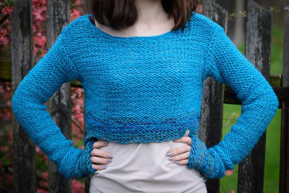 Turquoise cropped sweater Women's sweater by Isabellwoolstudio