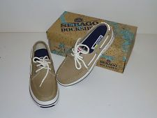Sebago Docksides Men's Boat Shoes, 7.5, Khaki Brown Beige, BRAND NEW, NIB