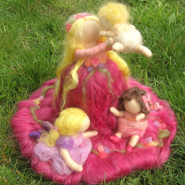 needle felted wool mother and children baby and girls wool fairy garden Steiner and Waldorf Inspired by Rebecca Varon Nushkie Design 2 by Nushkie Design