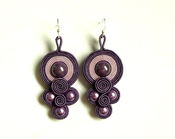 Plum purple pink soutache earrings - soutache jewelry - hand embroidered earrings - gift for her -  bead embroidery  earrings - bilateral via Etsy