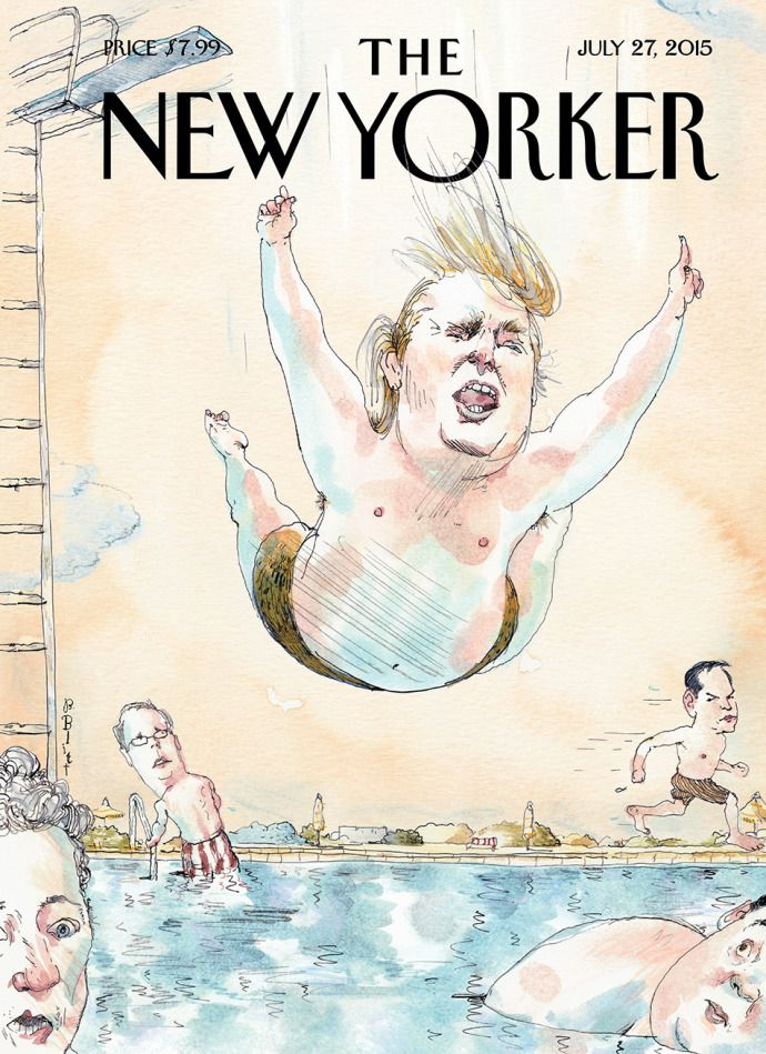"""Cover Story: Barry Blitt's """"Belly Flop"""" - The New Yorker"""
