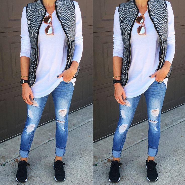 Black sneakers outfit, puffer vest, casual fall outfit idea, distressed jeans, fall style, New Balance, puffer vest outfit