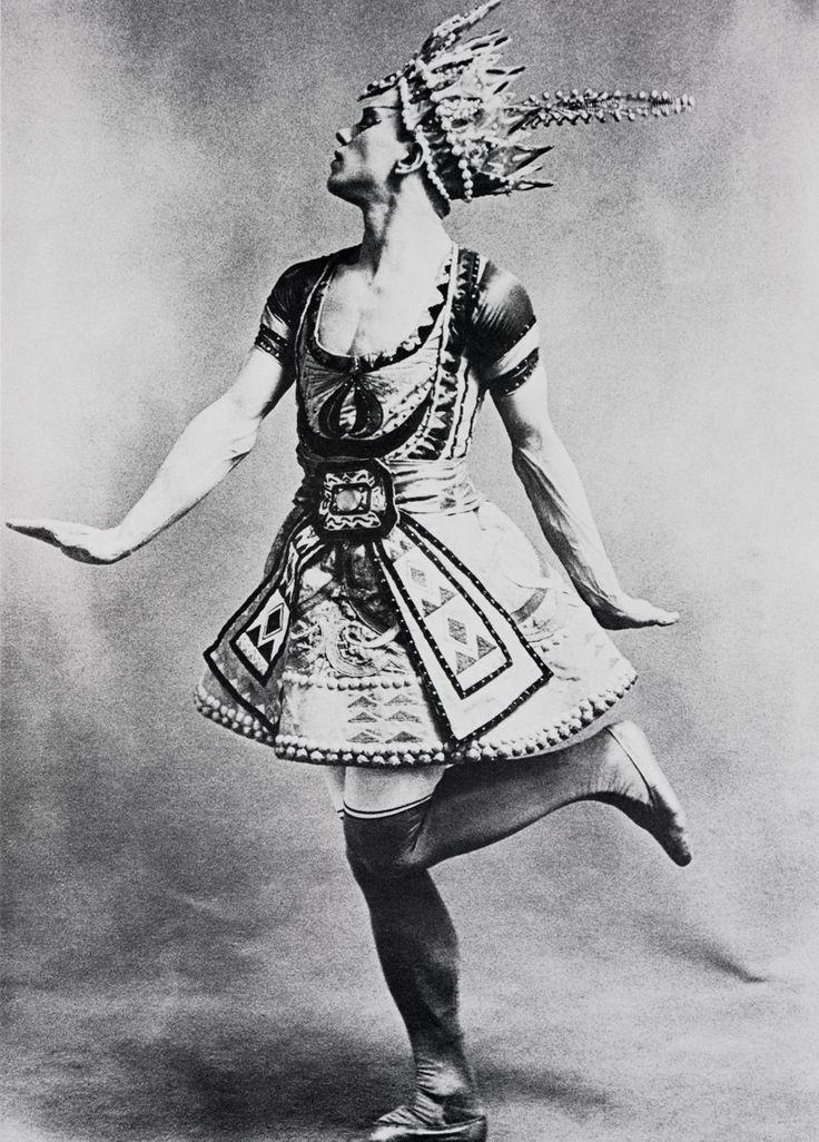 Vaslav Nijinsky in costume designed for the Ballets Russes production Le Dieu Bleu by Leon Bakst, c. 1912)