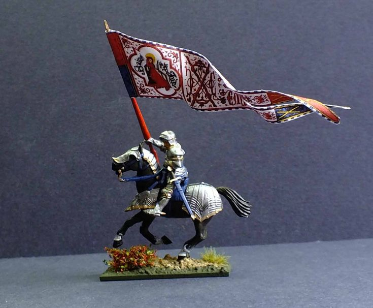 A company Guidon of the Burgundian army of Charles the Bold. The figure is a 28mm hard plastic multi part figure from Perry Miniatures.  The Guidon was captured by the Swiss at the Battle of Grandson 1476 and is now in the museum at St Gallen. Painted by Bob Hornsby