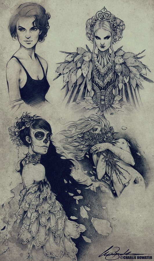 Lovely sketchbook page.: Charliebowater, Skull, Inspiration, Art, Sketches Xviii, Sketchbook, Character Design, Drawing