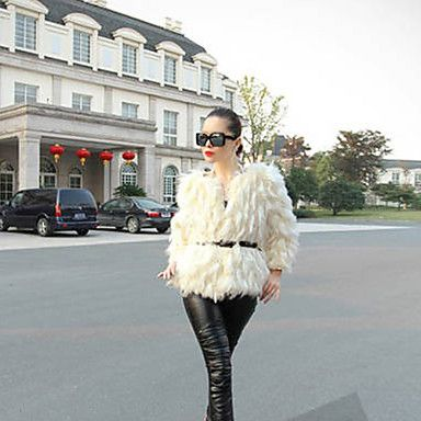 Baibian Women All Match Solid Color Fur Thermal Overcoat – AUD $ 24.39