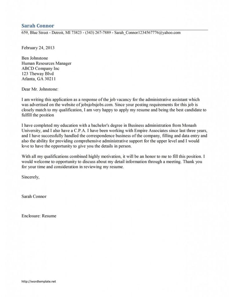 8 best Admin assist cover letter images on Pinterest Cover - example of a letter