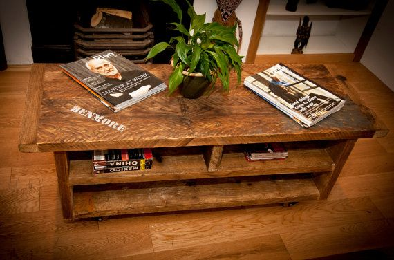 Reclaimed wood TV console coffee table shelves by BenmoreStudio