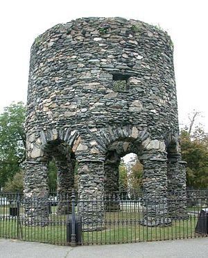 The Newport Tower is a round stone tower located in Newport, Rhode Island. No one knows who built the 28-foot tower and no one knows why. But nearly everyone knows the legends: Its eight pillars and fieldstone cylinder are the work of far-roaming Vikings, or Chinese explorers, or Portuguese noblemen, or Knights Templar from medieval Scotland.