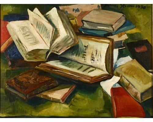 Irma Stern - Still life of books, 1930, oil on canvas on MutualArt.com