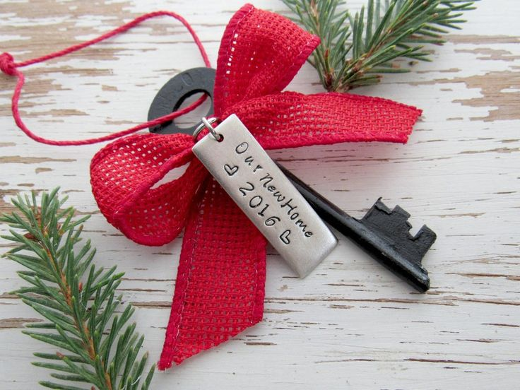 Our new home 2016 skeleton key ornament - housewarming gift - realtor - christmas tree - hand stamped - country cabin - rustic home key