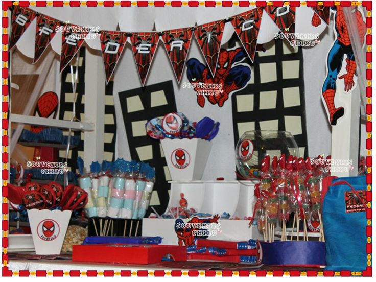 Decoraci n fiesta hombre ara a candy bar spiderman - Decoracion de aranas ...