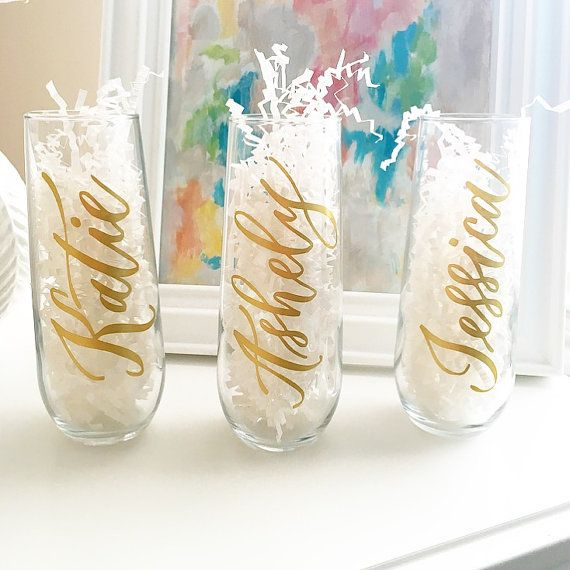 Personalized Champagne Flutes - Bridesmaid Champagne Glasses - Bridesmaid Gift - Bachelorette Party Gift - Champagne Glass - Wedding Favor