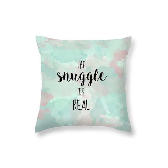 Typography Pillow Snuggle Pillow Quote Cute Pillows for Kids - Gift for Boyfriend Purple and Teal Bedding Funny Pillow Funny Gifts for Men