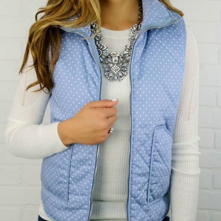 Strolling Along Blue Polka Dot Vest