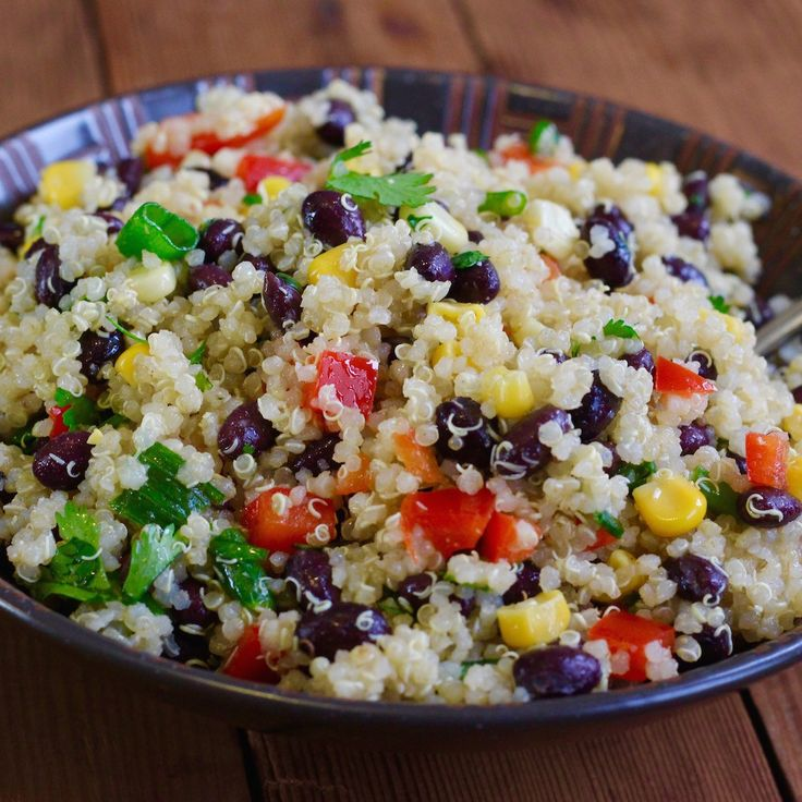 Black Bean and Quinoa Salad lightly dressed in a tangy Southwestern style cumin lime dressing. Delicious!!!