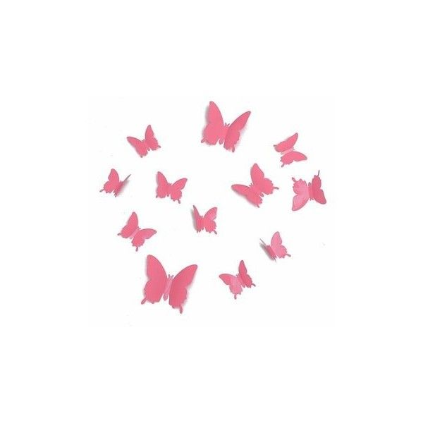12Pcs DIY 3D Butterfly Art Wall Sticker Decals Home Room Wedding Party... ($3.33) ❤ liked on Polyvore featuring home, home decor, wall art, pink, butterfly home decor, pink wall decals, butterfly wall stickers, pink wall stickers and pink butterfly wall stickers