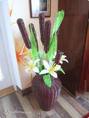 Мастер-класс Поделка изделие Плетение Камыши и старая знакомая ваза Трубочки бумажные фото 1