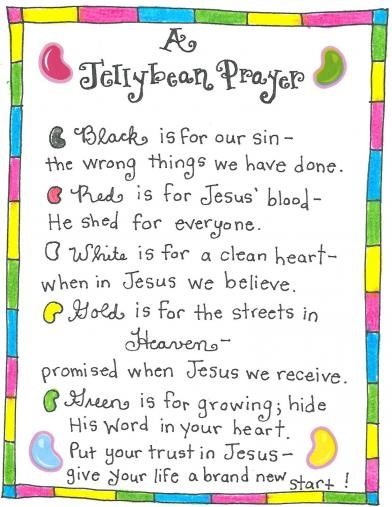 Sharing the true message of Easter using JELLYBEANS! The Jellybean Prayer - FREE Printable tag from Happy Home Fairy Chloe just made this poem on Friday at Pre-k. They painted their finger tips the colors of the beans. Then placed their fingers on the sheet beside the jelly beans colors.