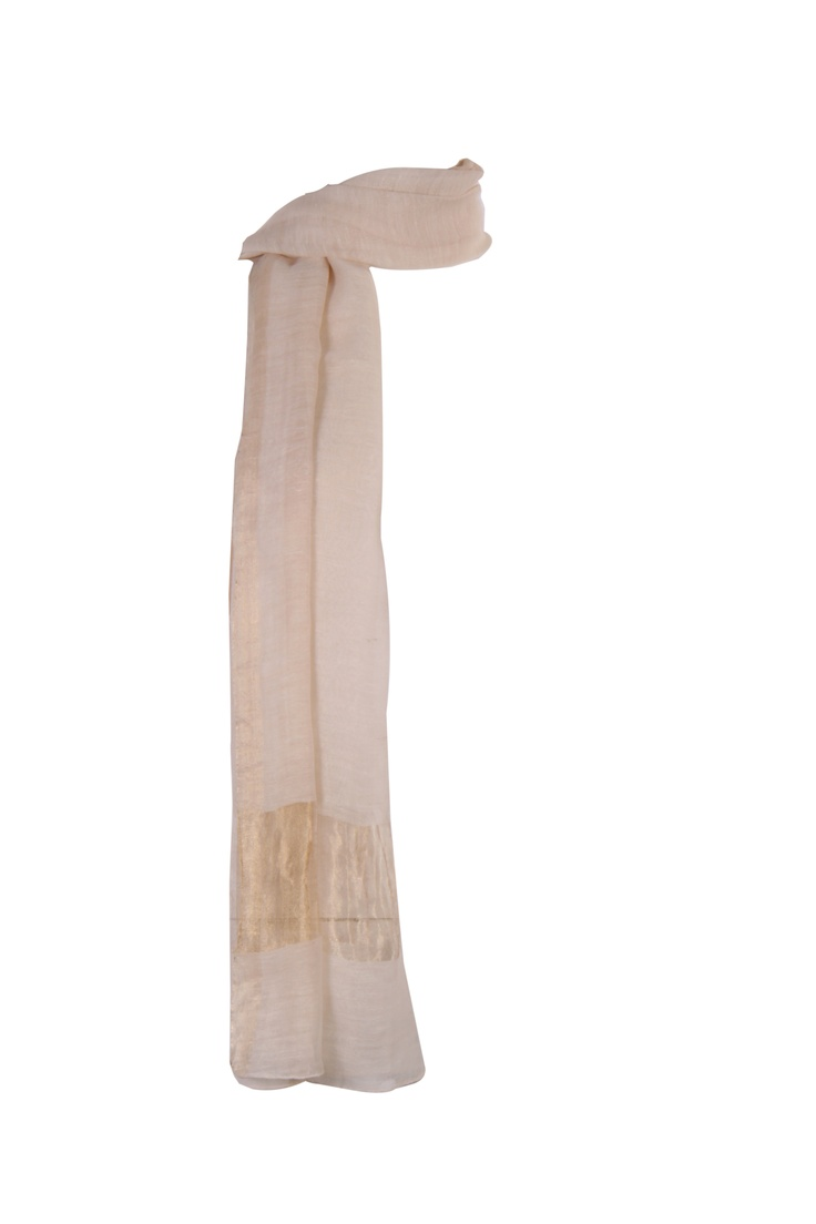 off white woven dupatta with gold zari border along the width with pikot finish in cotton silk; 2.25m in length #Fashion #Style #Colors #Drapes #W for #Woman