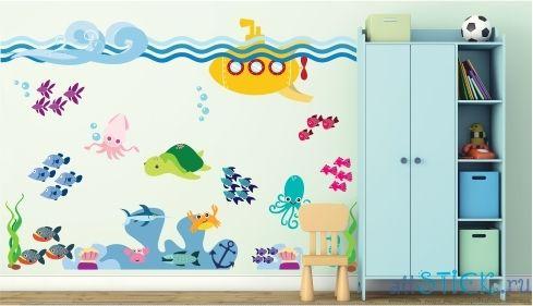 Недорогая наклейка на стену Подводный мир в интерьере детской комнаты